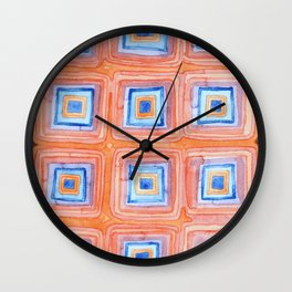 Twelve Red and Blue Melted Together Squares Wall Clock