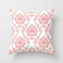 Pink & White Damask Throw Pillow
