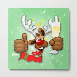 Reindeer Drunk Funny Christmas Character Metal Print