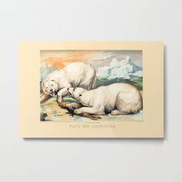 Vintage Polar Bears Metal Print