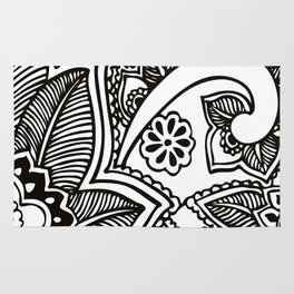 Floral Pattern | Black and White Rug