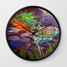 """The Aged and Wise Old Dragon Conquers some Orbs."" Wall Clock"