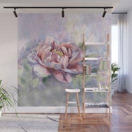 Pink Peonies Watercolor Flowers Peony Painting Floral art print Wall Mural