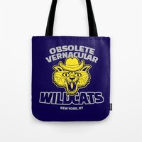 tenenbaums Tote Bags featuring Obsolete Vernacular Wildcats (Royal Tenenbaums) by Tabner's