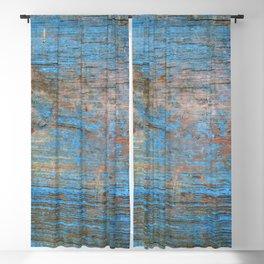 Blue Wood Grain Blackout Curtain