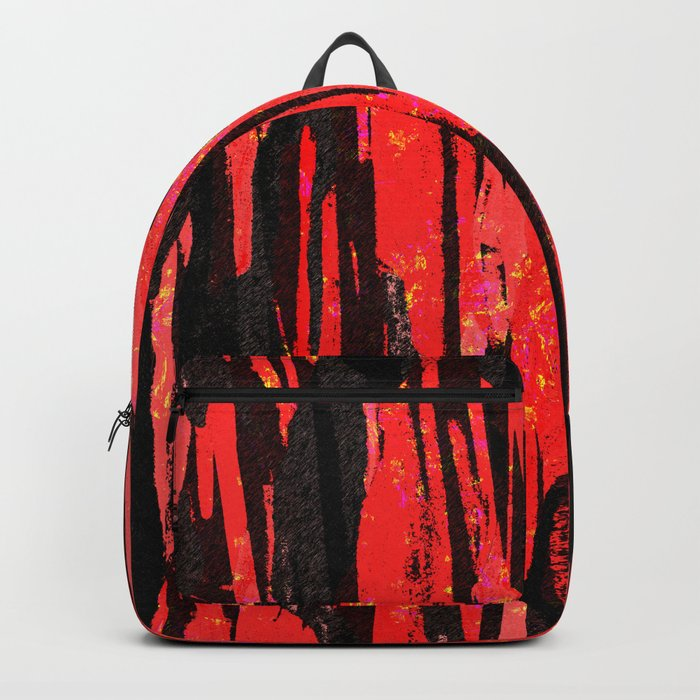 Unique Abstract Scarlet and Black Design Backpack