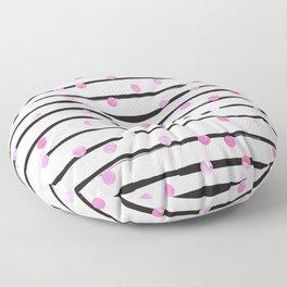 Blush pink black watercolor modern stripes polka dots Floor Pillow