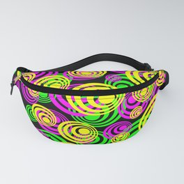 Bright Yellow Pink and Green Neon Circles Fanny Pack