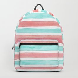 DONUT GIVE UP with Coastal Aqua and Pink Watercolour Stripes  Backpack