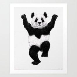Panda Crane Technique - charcoal drawing Art Print