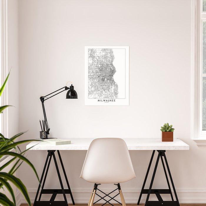 Milwaukee White Map Poster