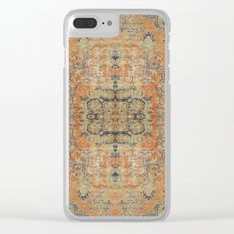 Vintage Woven Coral and Blue Clear iPhone Case