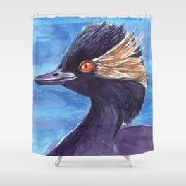 Grebe bird watercolor Shower Curtain