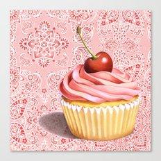 Pink Cupcake Paisley Bandana Canvas Print
