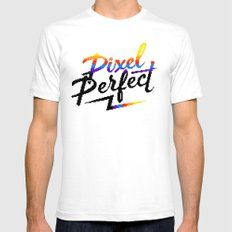 Pixel Perfect White Mens Fitted Tee SMALL