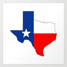 texas flag map Art Print