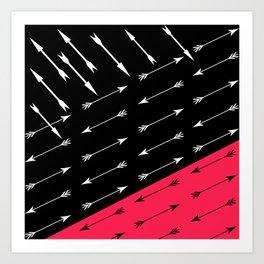 Red black , white pattern Arrow . Art Print
