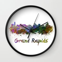 Grand Rapids skyline in watercolor Wall Clock