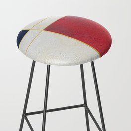 Blue, Red And White With Golden Lines Abstract Painting Bar Stool