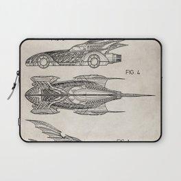 Batmobile Patent - Bat Mobile Art - Antique Laptop Sleeve