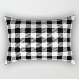 90's Buffalo Check Plaid in Black and White Rectangular Pillow