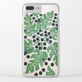 Monstera monster leaves Clear iPhone Case