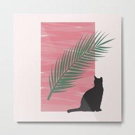 Istanbul Street Cat Pink Graphic Design Metal Print