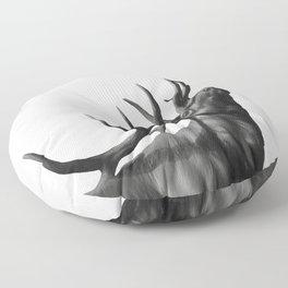 Elk in Black in White Floor Pillow