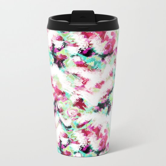 Abstract pattern white green pink . Metal Travel Mug