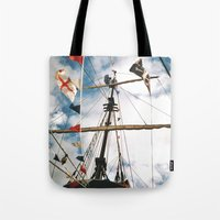 pirate ship Tote Bags featuring Pirate Ship by For the easily distracted...