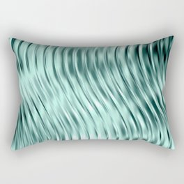 Modern Abstract Shiny Waves Glass Optical Illusion,Reflective Light, Ocean Teal Rectangular Pillow