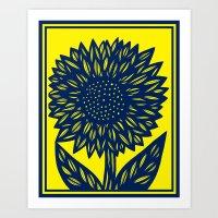 Evelyn Flowers Yellow Blue Art Print