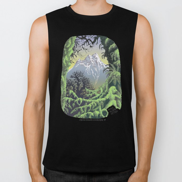 WALK ALONE SPIRIT IN RAIN FOREST AND MOUNTAINS PEN DRAWING Biker Tank