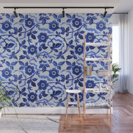 Azulejos blue floral pattern Wall Mural
