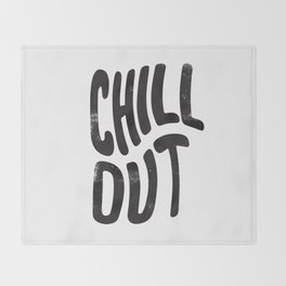 Chill Out Vintage Black and White Throw Blanket
