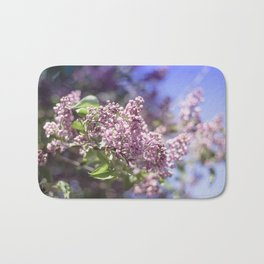Flowers Lilac Branch Close-up Outdoors Sunny Day Bath Mat