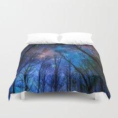 Black Trees Dark Blue Space Duvet Cover