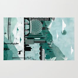 Vancouver Travel Poster Illustration Rug