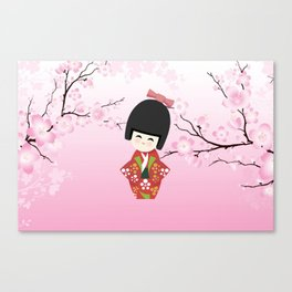 Kokeshi Red Canvas Print