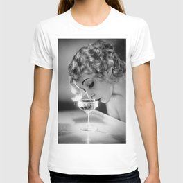 Jazz Age Blond Sipping Champagne black and white photograph / photography T-shirt