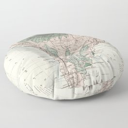 Vintage Map of South America (1858) Floor Pillow