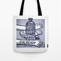 whiskey Tote Bags featuring Whiskey by hugraphic