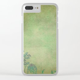Grunge Garden Canvas Texture:  Green and Teal Butterfly Floral Clear iPhone Case
