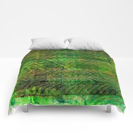 Gold caged green Comforters