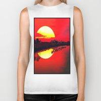 duvet cover Biker Tanks featuring Sunset duvet cover by customgift