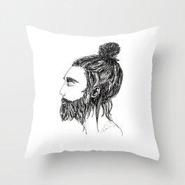 Peaceful Beard Man Throw Pillow