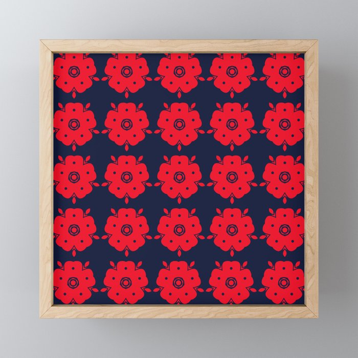 Japanese Samurai flower red pattern Framed Mini Art Print