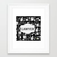 lawyer Framed Art Prints featuring BLACK LAWYER by Be Raza