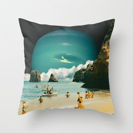Space Beach Throw Pillow