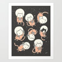 cats Art Prints featuring Cat-Stronauts by Drew Brockington